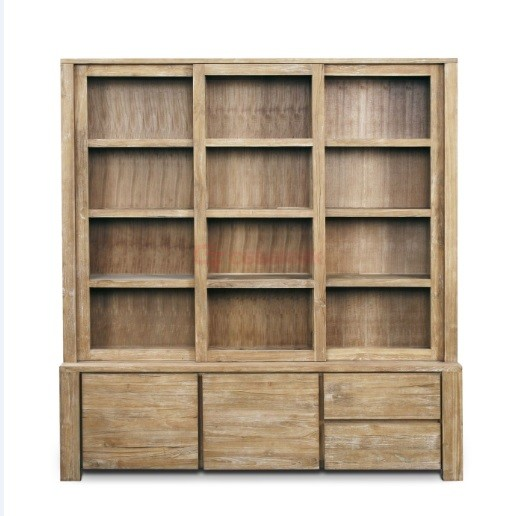 3 door display cabinet , teak wood