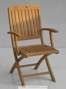 arm dining chair, teak wood outdoor dining chair, fold-able arm chair