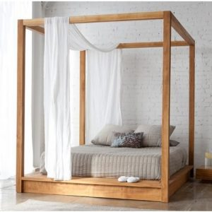 Teak 4 poster queen bed frame