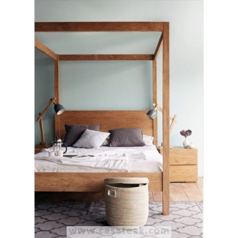 King poster bed Frame, solid wood four poster bed frame in Pj