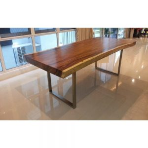 Table with metal legs, solid suar wood table with stainless steel legs.