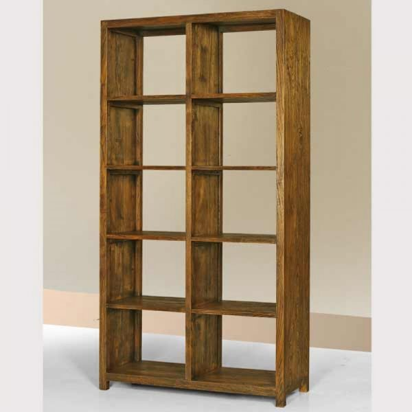 reclaimed book case, teak book shelf solid wood