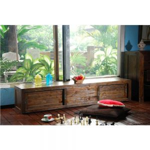 Recycled tv cabinet in pj, solid teak wood tv console