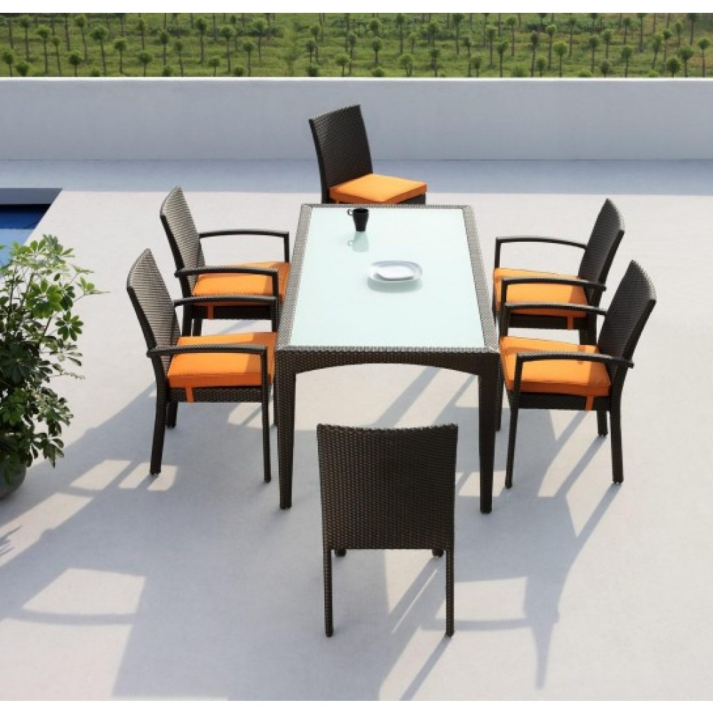 Wicker dining set, 6 seater dining set, outdoor wicker dining set kl