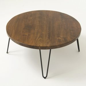 round coffee table, solid wood coffee table with metal legs
