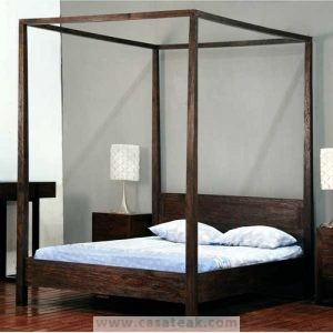 Wooden bed, four poster bed