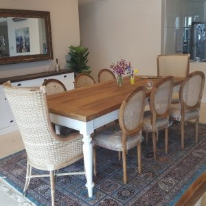 Recycled wood dining table, Seni dining set