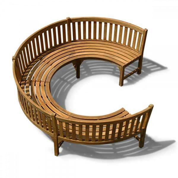Circular garden teak wood bench