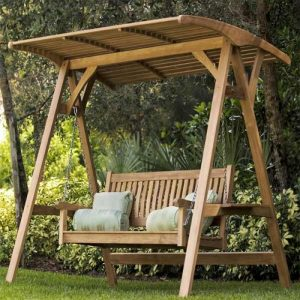 wooden swing, outdoor teak swing, outdoor furniture