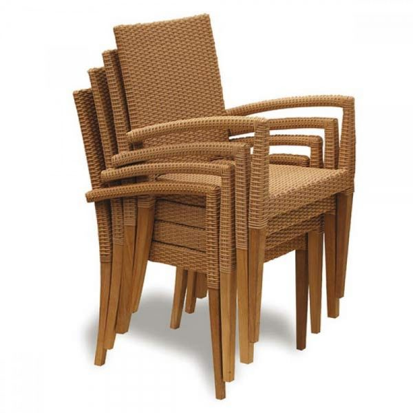 wicker stacking chair, outdoor restaurant chair