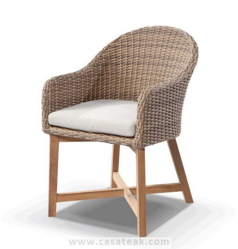 Coastal wicker dining chair