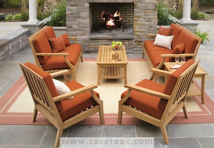 Modular Outdoor Sofa Made Of Solid Teak Wood With Sun Proof Fabric