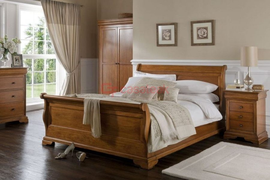 Apollo Sleigh bed Frame, teak wood Indonesian furniture