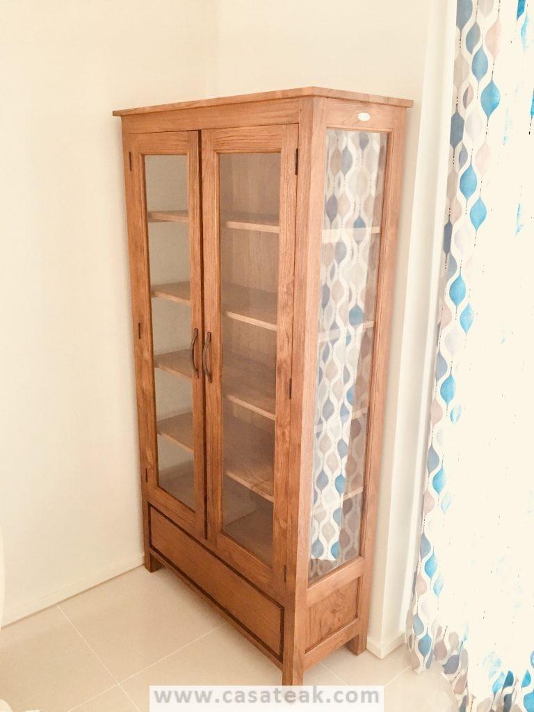 Teak wood dovel display cabinet