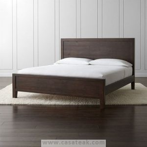 Twist queen bed frame made of solid teak wood
