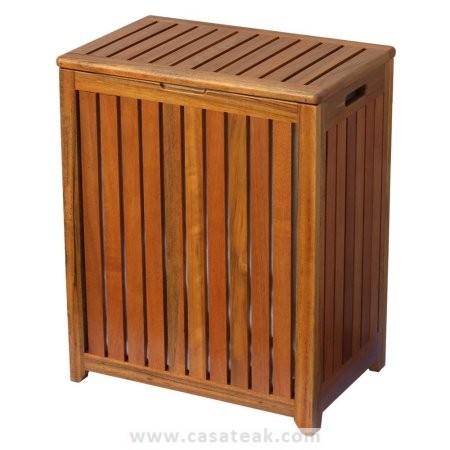 teak laundry basket, solid wood hamper