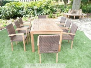 Twister outdoor teak dining table in Malaysia