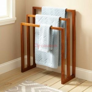 Teak wood towel rack
