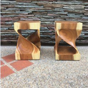 Suar wood twist stool